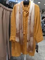 麻素材衿付きロング丈シャツ